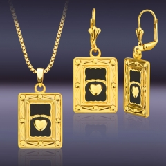 Heart Block 18K Gold Plated Pendant Necklace +Hoop Earring Golden One size