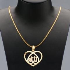 Heart Shape Pendant Crystal Embellished 18k Gold Plated Necklace Golden One size