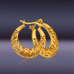 Hollow Out Rose 18k Gold Plated Hoop Earrings Golden One size