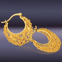 Hollow Out Plant 18k Gold Plated Hoop Earrings Golden One size
