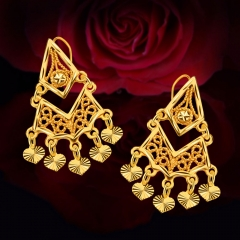 Heart Hollow Out 18k Gold Plated Drop Earrings Golden One size