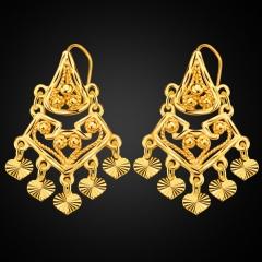 Heart Bead Embellishment 18k Gold Plated Drop Earrings Golden One size