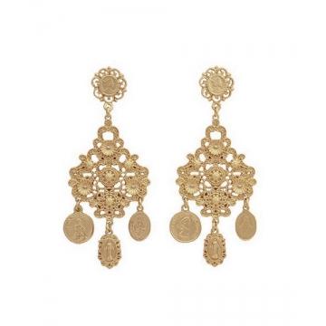 Pair of Golden Pendant Earrings Golden One size