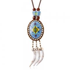 Women Bohemia Weave Flower Bead Ceramics Sweater Pendant Necklace White One size