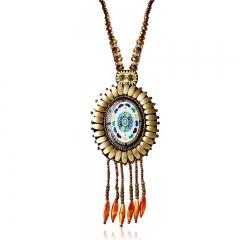 Bohemia Flower Bead Ceramics Weave Sweater Pendant Necklace Orange One size