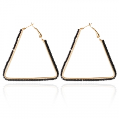 Bohemia Triangle Bead Hollow Hoop Earrings for Women Black One size