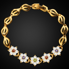 Colorful Vintage 18k Gold Plated Flower Shape Crystal Bracelet Cubic Zirconia Ladies Jewelry Golden One size