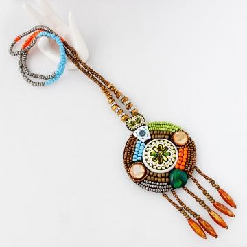 Bohemia Flower Bead Ceramics Weave Sweater Pendant Necklace Colorful One size