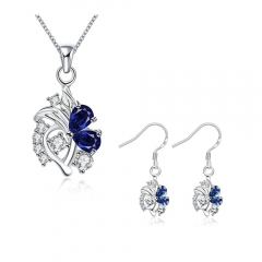 Silver Plated Necklace Earrings Jewelry Sets Blue One Size