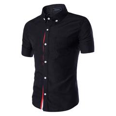 Men's Slim Fit Short Sleeve Shirts 5 Colors Black 3XL