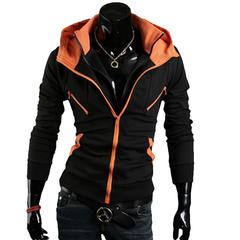 Double Zipper Stand Collar Hoodie Thicker Fleece Sweatershirt Orange 2XL
