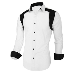 New Fashion Men's Long-sleeved Turndown Plaid Casual Shirt White M