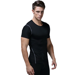 Men's Slim Short-sleeved Quick-drying Sport T-shirts Black M