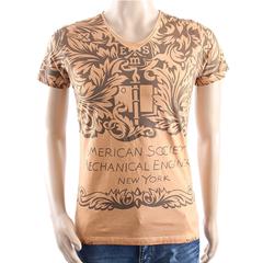 New Fashion Short-Sleeved V-Neckline T-Shirts Light brown M