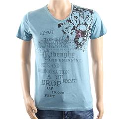 New Fashion Short-Sleeved V-Neckline T-Shirts Blue M