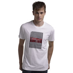 New Design Strip Print High Quality Cotton Customed T-Shirt White L
