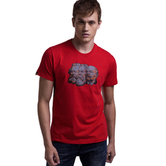 Customed Man 100% Cotton Character Pattern Print T-Shirt  Red S