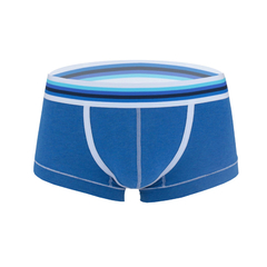 Fashion Design Elastin Cotton Men's Sexy Colorful Low Waist Boxers Blue S