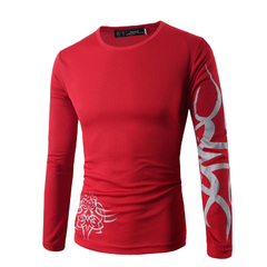 Men's Long Sleeve O-Neck Printing T-Shirts Red XL