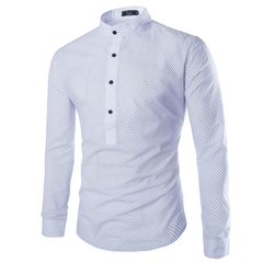 New arrival fashion men's casual dot sleeve shirt White L