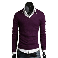 Men Stylish Slim Fit V-neck Sweater Solid Color Knitwear Purple M