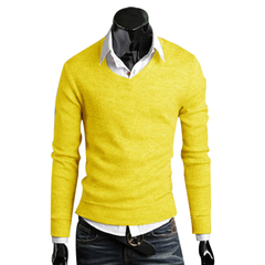 Men Stylish Slim Fit V-neck Sweater Solid Color Knitwear Yellow XL