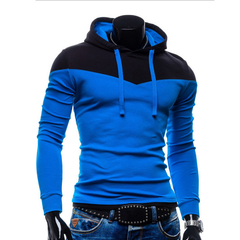 Spring Autumn Sports Men Hoodies Hat Strap Hit Color Blue+Black 2XL