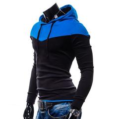 Spring Autumn Sports Men Hoodies Hat Strap Hit Color Black 2XL