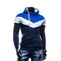 New Fashion Men Spring Autumn Hoodies Casual Style Dark gray+blue M