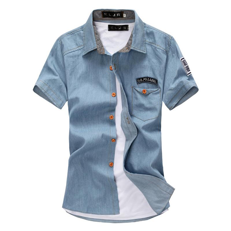 f4bf0693a1 New Fashion Men Short-sleeved Denim Shirt Dark blue M   Kilimall Kenya