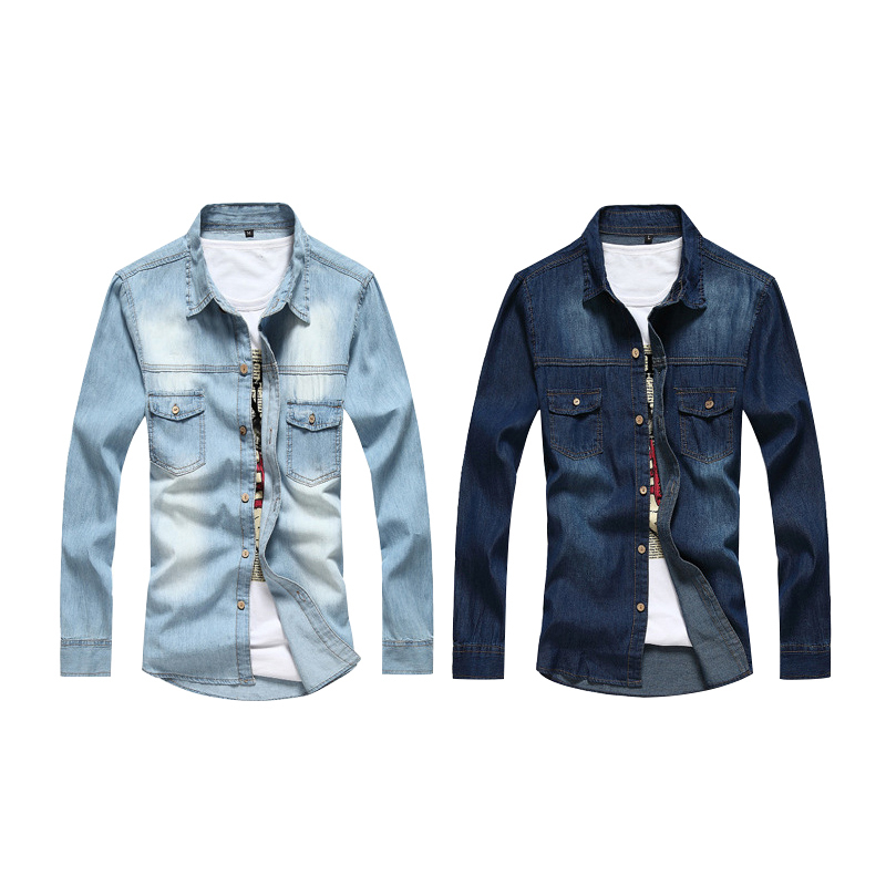 c10e46f77b Men Solid color Long-sleeved Denim Shirt Light blue M   Kilimall Kenya