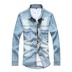 Men Solid color Long-sleeved Denim Shirt Light blue M