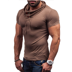 Fashion Men Pure Color Slim Short Sleeve T-shirt Light brown M