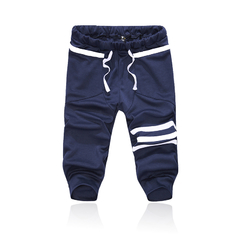 Outdoor Sports Casual Shorts Pants Cotton Blend Trousers Dark blue XL