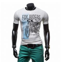Fashion Trend Men Printing Round Neck Short-sleeved T-shirt Gray M