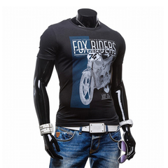Fashion Trend Men Printing Round Neck Short-sleeved T-shirt Black L