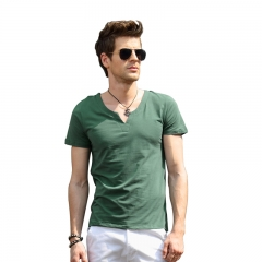 Men Pure Color V-neck Short Sleeve T-shirt Green L