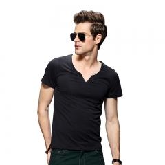Men Pure Color V-neck Short Sleeve T-shirt Black 2XL