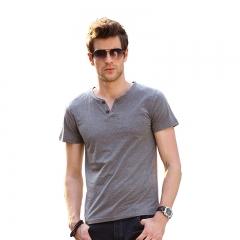 New Men Solid Color V-neck Short Sleeve T-shirt Dark gray L