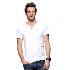 New Men Solid Color V-neck Short Sleeve T-shirt White 3XL
