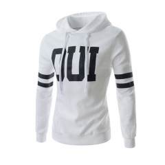 Men Fashion Letter Prited Slim Jacket Pullover Hoodies White 3XL