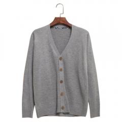 New Men Fashion V-neck Knit Cardigan Coat Sweatshirt Light gray 2XL
