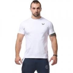 Men Minimalist Sports Style Large Size Short-sleeved T-shirt White L