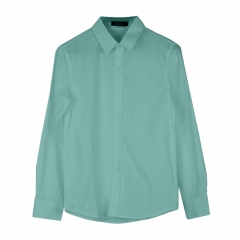 Men Fashion Casual and Simple Solid Color Long-sleeved Shirt Light green 3XL