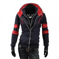 Fashion Men Double Zipper Hooded Cardigan Coats Dark blue L