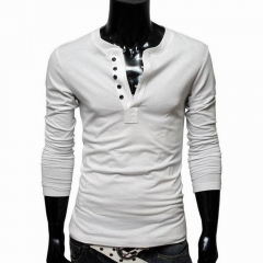 Men Solid color Cotton Single-breasted Round Neck T-shirts White M
