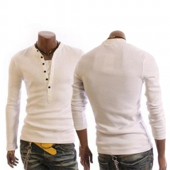 Men Casula Style Button Long-sleeved T-shirts White M