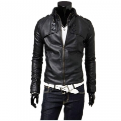 Men Cool Motorcycle Leather Stand Collar Slim leather Jacket Black M