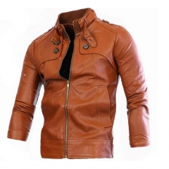 Men Cool Motorcycle Leather Stand Collar Slim leather Jacket Brown 4XL