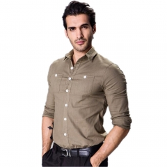 Men Simple Design Shirt Solid Color Long-sleeved Slim Style Shirt Dark green XL